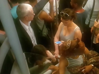 YourVoyeurVideos Short hair woman nice cleavage on the subway  AMATEUR Clip Siterip XXX h.264 Video