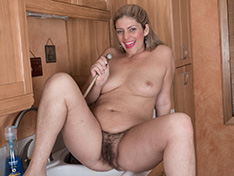 WeareHairy Alicia Silver Alicia Silver strips and plays naked in a kitchen [FULL PICSET Highres WEBRIP]
