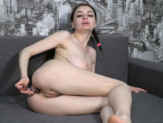 WeareHairy.com Tamanta masturbates with her glass toy on her sofa  Video 1089p Hairy Closeup