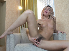 WeareHairy.com Lola strips naked and masturbates on her armchair  Video 1089p Hairy Closeup
