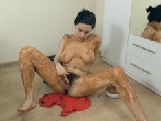 WeareHairy.com Ole Nina masturbates by her mirror  Video 1089p Hairy Closeup