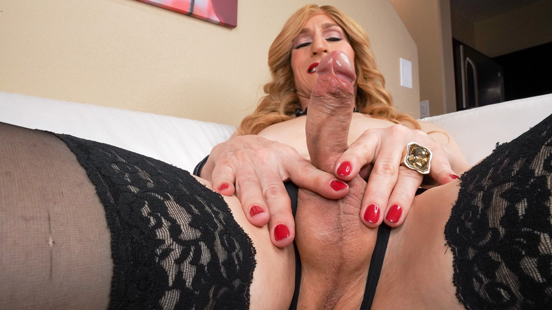 TGirl40 Bodacious Kacy Strokes On The Couch!  Shemale XXX WEB-DL Groobynetwork