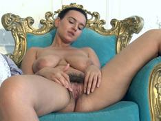 WeareHairy.com Ramira strips naked on her blue golden chair  Video 1089p Hairy Closeup