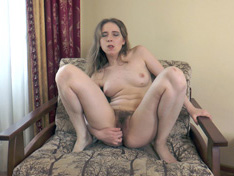 WeareHairy.com Isabel Stern strips and masturbates on her chair  Video 1089p Hairy Closeup