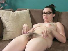 WeareHairy.com Ava Rae strips and strokes her nice hairy bush  Video 1089p Hairy Closeup