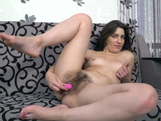 WeareHairy.com Julia Red masturbates with her pink vibrator  Video 1089p Hairy Closeup