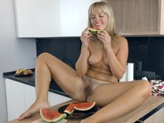 WeareHairy.com Jessy Fiery enjoys watermelon and masturbating  Video 1089p Hairy Closeup
