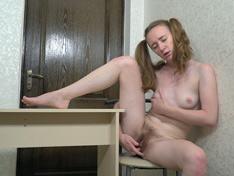 WeareHairy.com Emma Fantasy masturbates to orgasm at her desk  Video 1089p Hairy Closeup