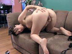 WeareHairy.com Simone strips naked on her brown sofa  Video 1089p Hairy Closeup