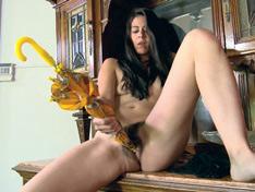 WeareHairy.com Solange has fun masturbating with an umbrella  Video 1089p Hairy Closeup