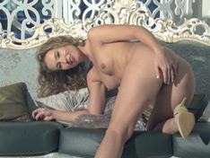 WeareHairy.com Nikky B strips off an elegant white dress to relax  Video 1089p Hairy Closeup