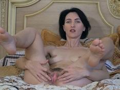 WeareHairy.com Aglaya enjoys orgasming in bed as she masturbates  Video 1089p Hairy Closeup