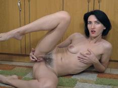 WeareHairy.com Aglaya strips naked in her kitchen  Video 1089p Hairy Closeup