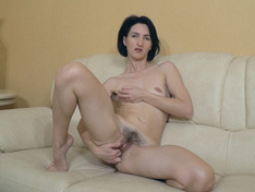 WeareHairy.com Aglaya masturbates as she relaxes on her couch  Video 1089p Hairy Closeup