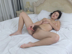 WeareHairy.com Chrystal Mirror masturbates in bed with a sweet  Video 1089p Hairy Closeup
