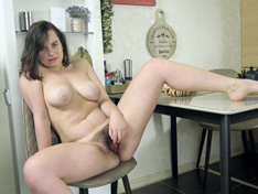 WeareHairy.com Polly Green masturbates while in her kitchen  Video 1089p Hairy Closeup