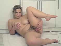 WeareHairy.com Ellariya Rose masturbates in her white kitchen  Video 1089p Hairy Closeup