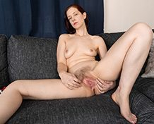 WeareHairy April April slides off her red shirt on her couch [FULL PICSET Highres WEBRIP]