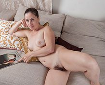 WeareHairy Liana Liana poses naked on her beige sofa WEB-DL 720p Hairy/Unshaved/Natural